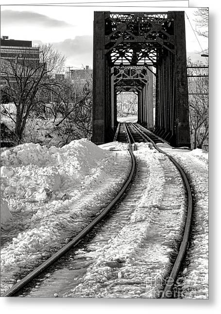 Railroad Bridge In Winter Greeting Card by Olivier Le Queinec