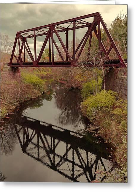 Railroad Bridge Greeting Card by Laurie Breton