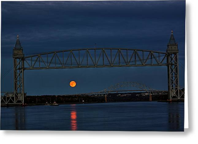 Greeting Card featuring the photograph Railroad Bridge Over A Full Moon by Greg DeBeck