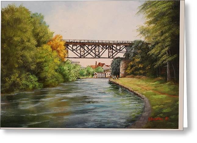 Railroad Bridge Over Erie Canal Greeting Card