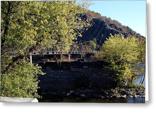 Railroad Bridge Over The Potomac Greeting Card by Rebecca Smith