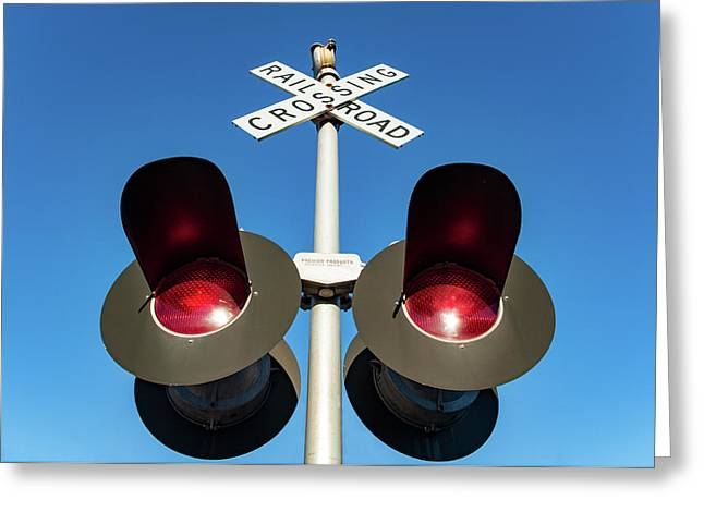 Railroad Crossing Lights Greeting Card by Todd Klassy