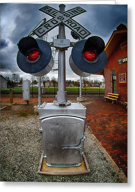 Railroad Crossing Signal Greeting Card