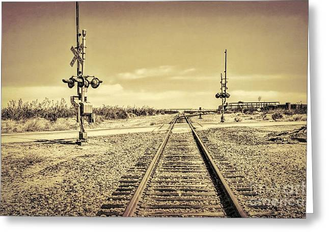 Railroad Crossing Textured Greeting Card