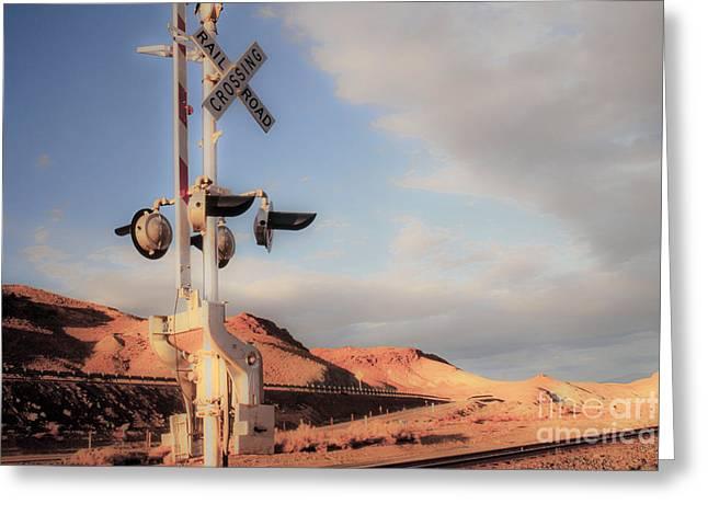 Railroad Crossing Tint Greeting Card by Vance Fox