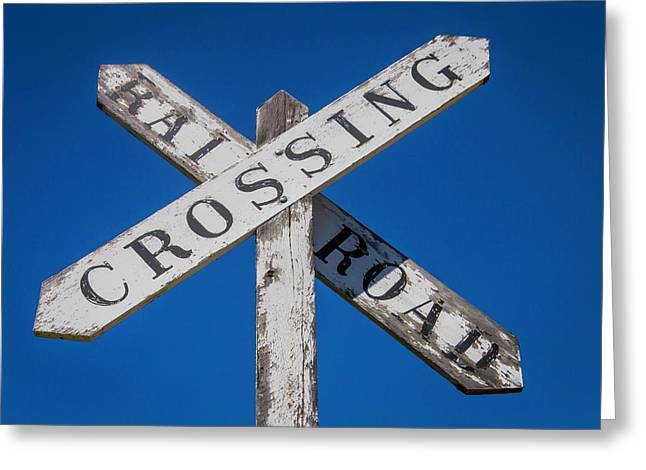 Railroad Crossing Wooden Sign Greeting Card by Garry Gay