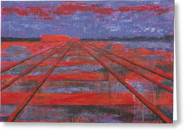 Railroad Into The Dusk  Greeting Card by Darko Topalski