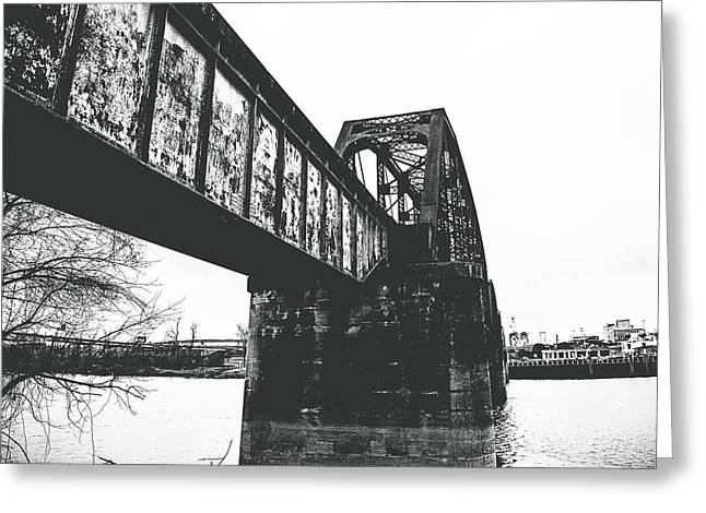 Railroad Over The Red River - Bw Greeting Card