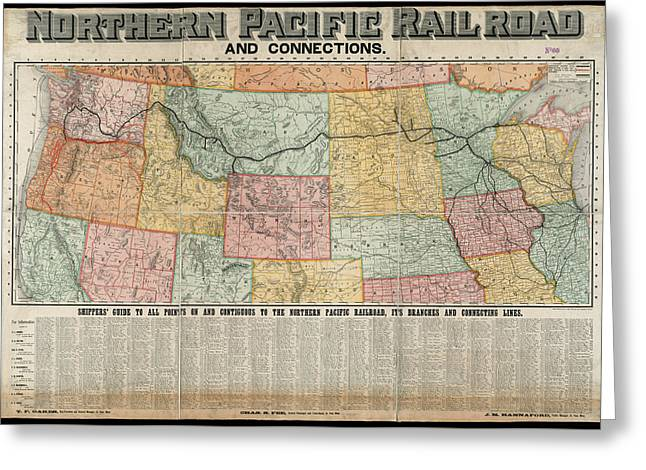 Railroad Shipping Guide Map 1904 Greeting Card