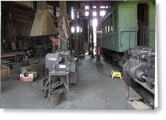 Railroad Shop Greeting Card by Larry Darnell