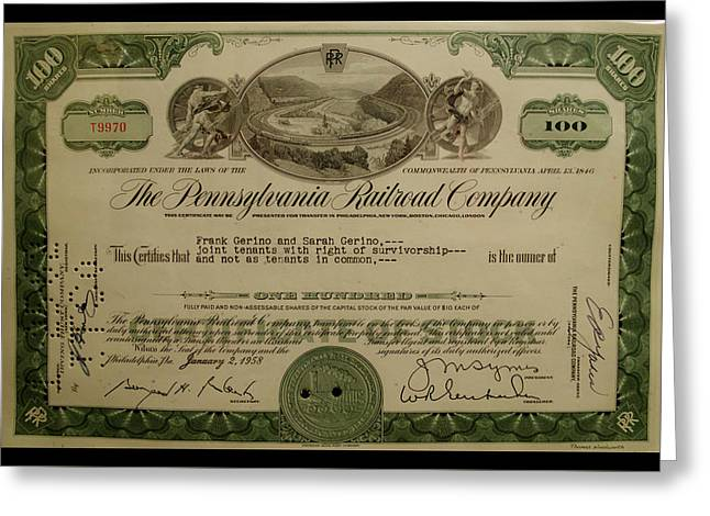 Railroad Stocks The Pennsylvania Railroad Greeting Card