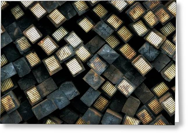 Railroad Ties Stacked Greeting Card