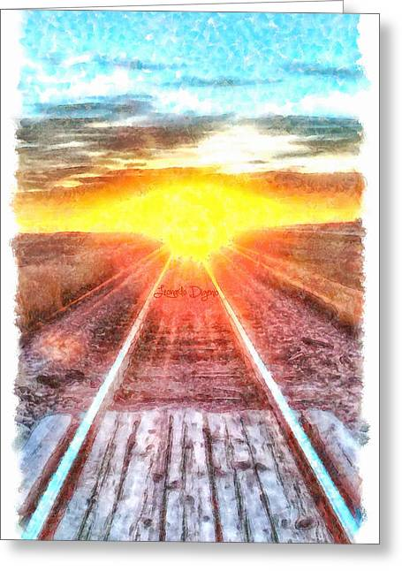 Railroad To Sun - Da Greeting Card by Leonardo Digenio