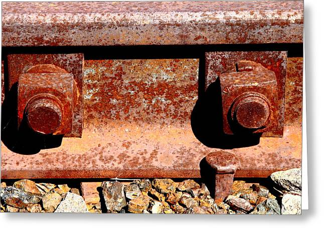 Railroad Tie Greeting Cards - Railroad Track Nuts Bolts Spikes . 7D12683 Greeting Card by Wingsdomain Art and Photography