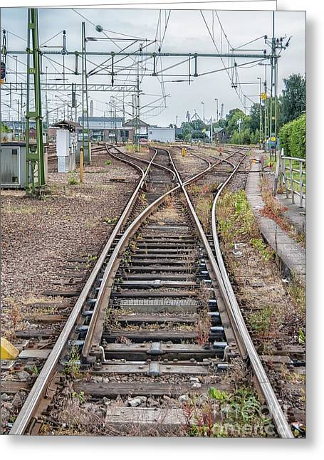 Greeting Card featuring the photograph Railroad Tracks And Junctions by Antony McAulay