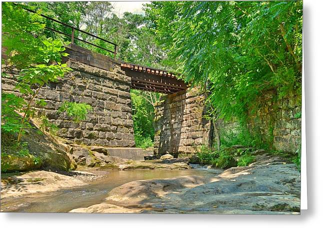 Greeting Card featuring the photograph Railroad Tracks At Buttermilk/homewood Falls by Lisa Wooten