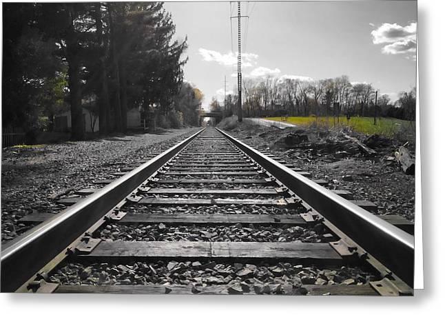 Railroad Tracks Bw Greeting Card