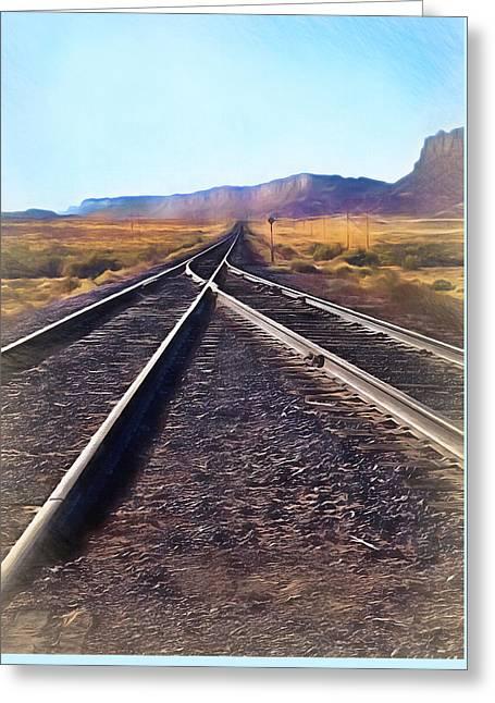 Railroad Tracks Into Horizon - Painterly Greeting Card by Steve Ohlsen