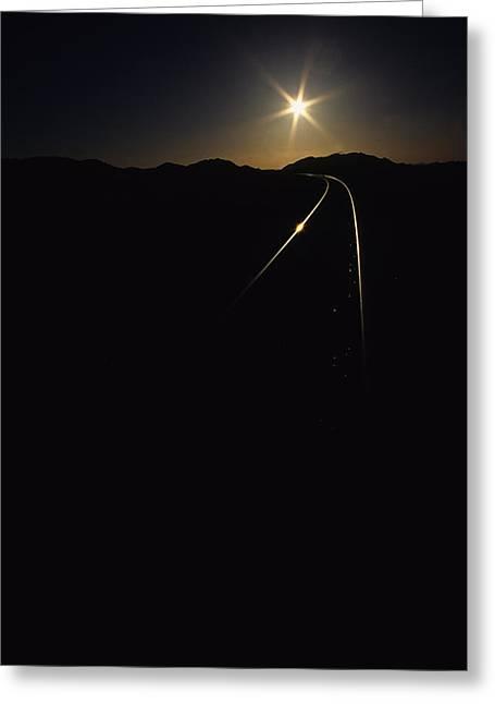 Rails At Sunrise Greeting Card by Susan  Benson