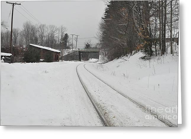 Greeting Card featuring the photograph Rails In Snow by John Black