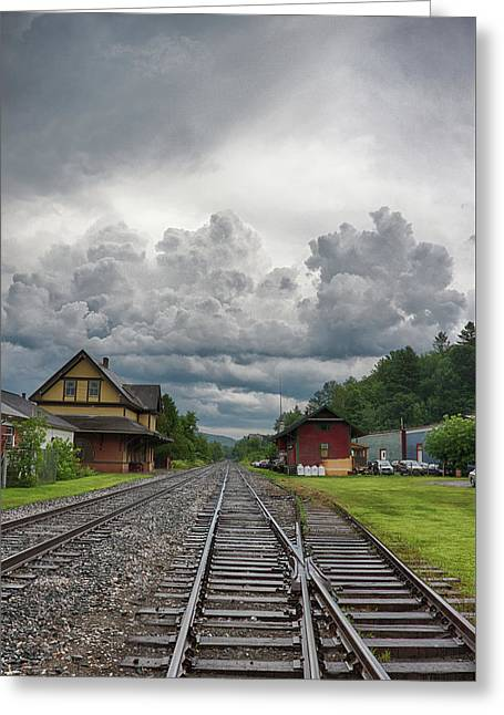 Rail Station Storm Greeting Card