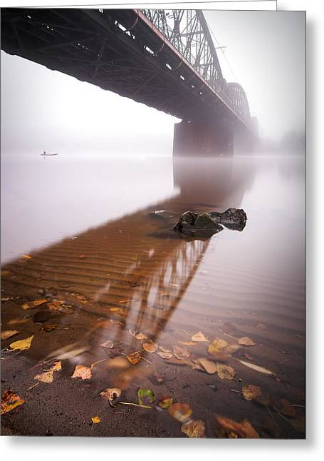 Railway Bridge During Foggy Morning In Prague, Czech Republic Greeting Card