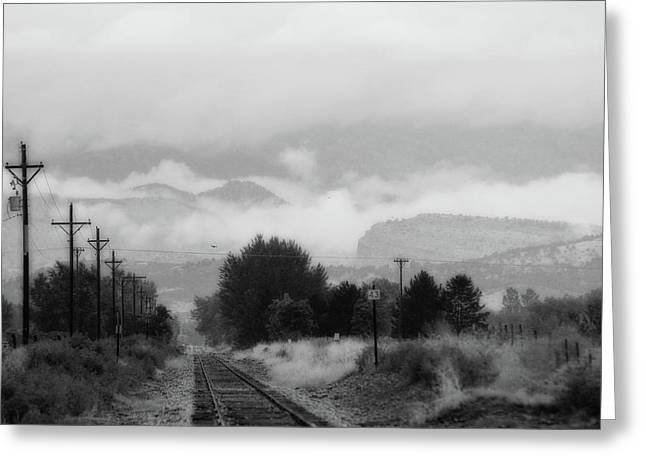 Railway Into The Clouds Bw Greeting Card