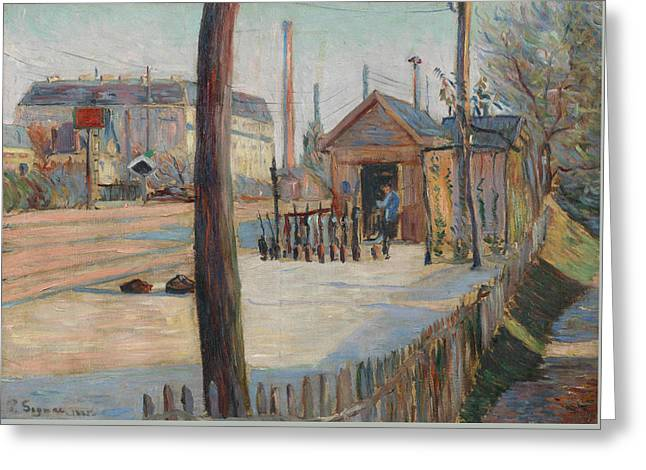 Railway Junction Near Bois-colombes  Greeting Card by Paul Signac