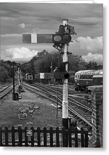 Railway Signals In Black And White Greeting Card