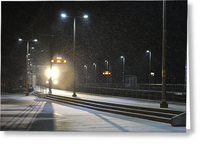 Railway Station In Snowy Evening Greeting Card by Uldis Cakans