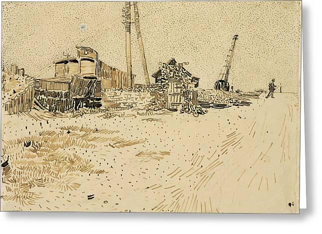 Railway Storage Yard, 1888 Greeting Card by Vincent Van Gogh