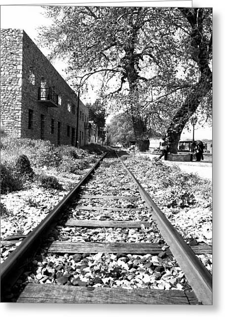Railway Tracks Aigio Greece Greeting Card by Frank Filippoupolitis