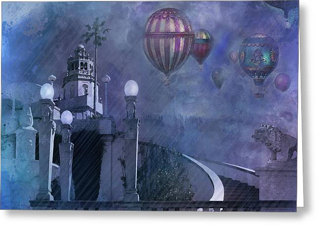 Rain And Balloons At Hearst Castle Greeting Card by Jeff Burgess