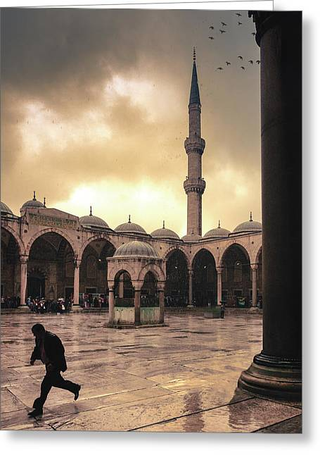 Rain At The Blue Mosque Greeting Card