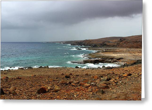 Rain Clouds Brewing Off The Coast Of Island Of Aruba Greeting Card by Design Turnpike