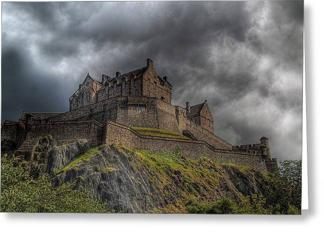 Rain Clouds Over Edinburgh Castle Greeting Card by Amanda Finan