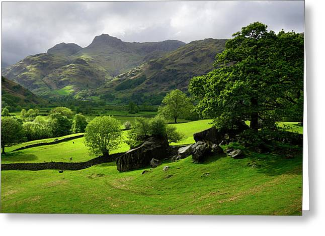 Rain Clouds Over The Langdale Pikes Greeting Card