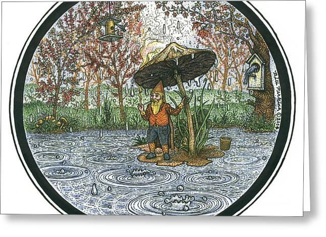 Rain Gnome Rain Circle Greeting Card by Bill Perkins