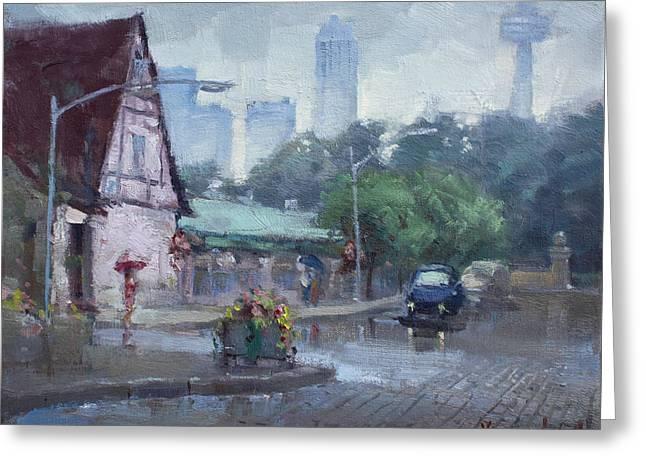 Rain In Old Falls Street Greeting Card by Ylli Haruni