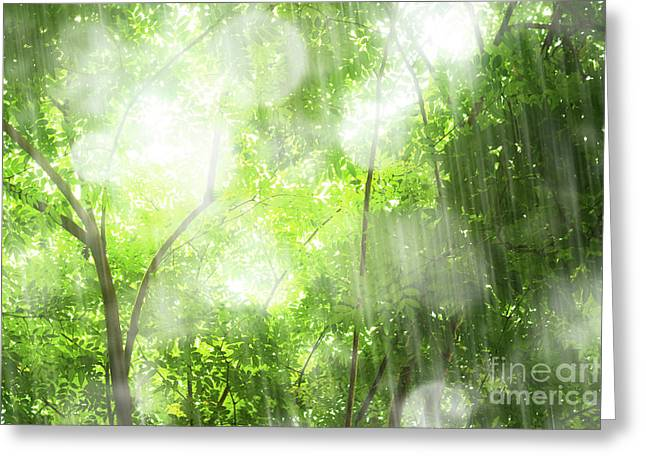 Rain In Tropical Forest Greeting Card by Atiketta Sangasaeng