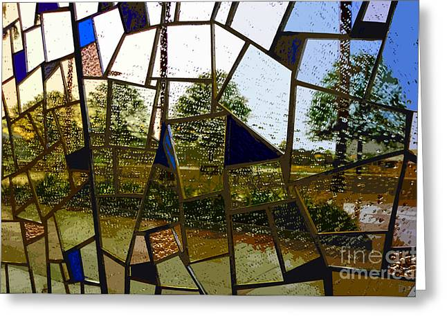 Rain On Glass Greeting Card by David Lee Thompson