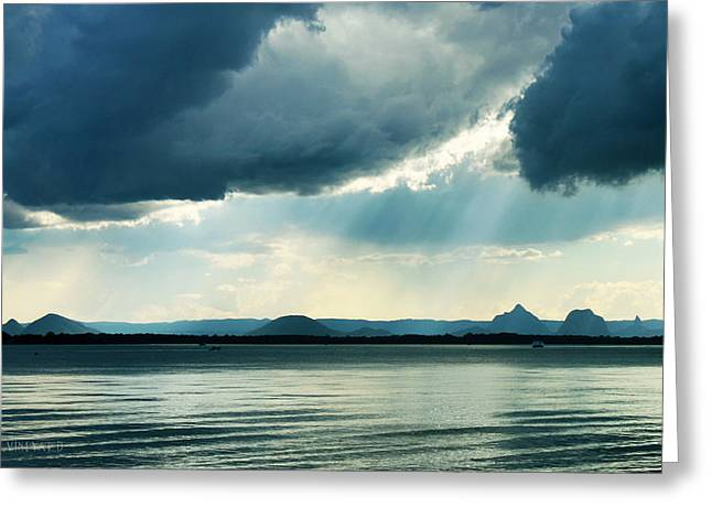 Rain On The Glass Mountains Greeting Card