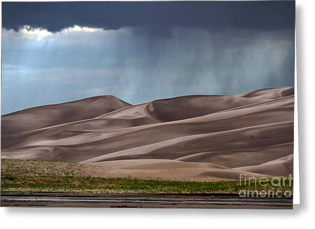 Rain On The Great Sand Dunes Greeting Card by Catherine Sherman