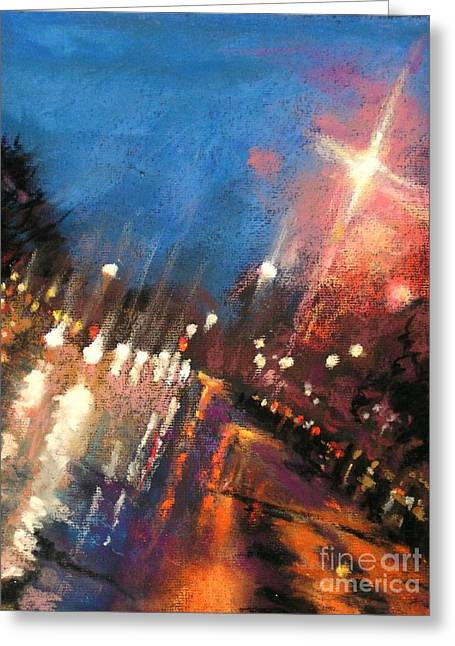 Rain On The Hill - Grosse Pointe Greeting Card