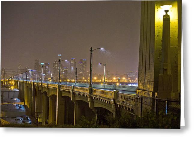 La Downtown Greeting Cards - Rain on the Sixth Street Bridge  Greeting Card by Kevin  Break