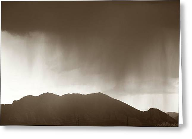 Rain Over Flatirons Greeting Card by Marilyn Hunt