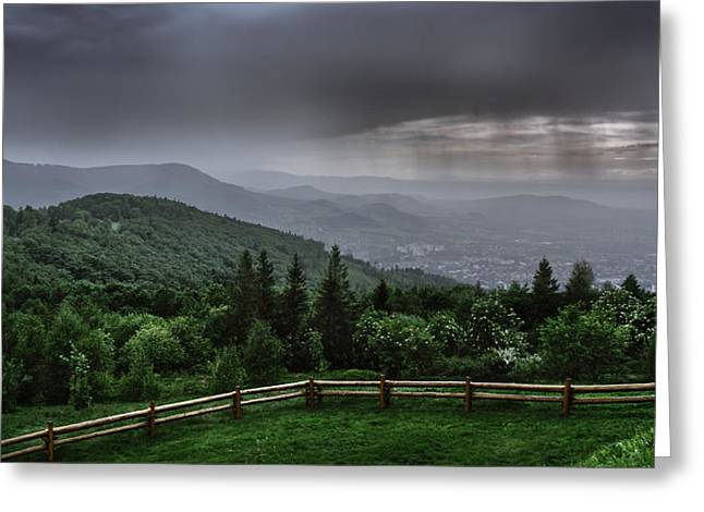 Rain Over The Silesian Beskids Greeting Card