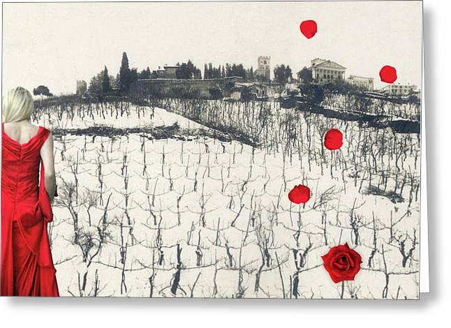 Rain Red Roses Greeting Card