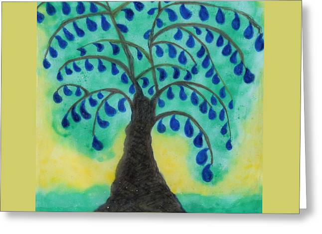 Rain Drop Umbrella Tree Greeting Card