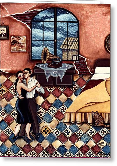 Rain, Romance And Tango Greeting Card by Graciela Bello